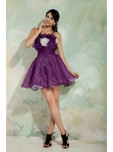 Lovely Dark Purple A-line / Princess Prom / Homecoming Dress Strapless Organza Hand Made Flowers Mini-length