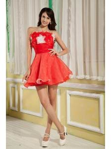 Lovely Red A-line / Princess Cocktail Dress Strapless Organza Hand Made Flowers Mini-length