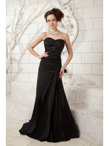 Modest Black Little Black Dress Column Sweetheart  Taffeta Ruch and Beading Brush Train