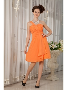 Orange Bridesmaid Dress Under 100 A-line / Princess One Shoulder Chiffon Ruch Knee-length