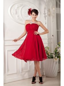 Red Bridesmaid Dress Under 100 A-line / Princess Sweetheart  Chiffon Ruch Knee-length