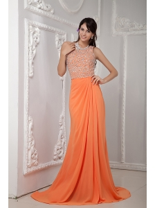 Sexy Orange Column One Shoulder Brush Train Chiffon Beading Evening Dress