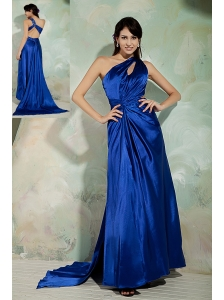 Sexy Royal Blue Column Prom / Homecoming Dress One Shoulder Elastic Woven Satin Ruch Brush Train