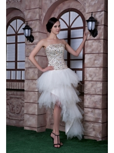 Special White Column Strapless Cocktail Dress Beading Taffeta and Tulle High-low