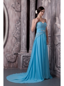 2013 Aqua Blue Prom Dress Empire Sweetheart Chiffon Beading Court Train