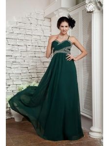 2013 Dark Green Mother Of The Bride Dress Empire Spaghetti Straps Floor-length Chiffon Beading