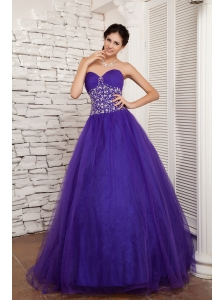 2013 New Style Purple A-line Sweetheart Prom / Evening Dress Tulle Beading Floor-length
