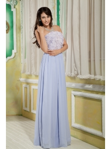 Beautiful Lilac Empire Strapless Prom Dress Chiffon Roling Flower Floor-length