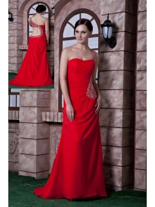 Beautiful Red Empire One Shoulder Prom Dress Chiffon Beading Brush Train