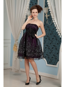 Black Column Strapless Cocktail Dress Organza Embroidery Knee-length