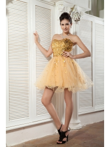 Classical Champagne A-line / Princess Cocktail Dress Sweetheart Organza Sequins Mini-length