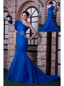Classical Royal Blue Mermaid Evening Dress One Shoulder Beading Satin and Organza Beading