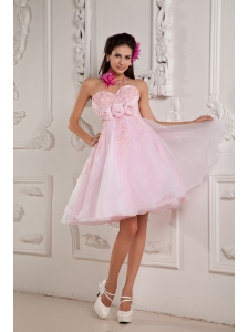 Custom Made Baby Pink A-line / Princess Sweetheart Cocktail Dress Organza Beading and Appliques Mini-length