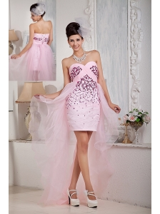 Custom Made Baby Pink Column Sweetheart High-low Prom Dress Organza Beading