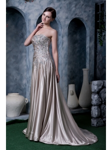 Custom Made Grey Empire Evening Dress Strapless Silk Like Satin Beading Brush Train