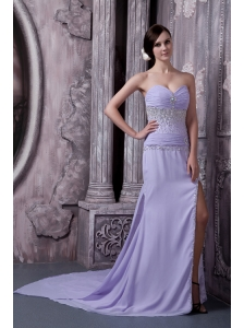 Custom Made Lilac Column Sweetheart Prom Dress Chiffon Beading Court Train