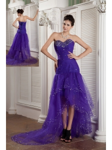 Custom Made Purple Mermaid Sweetheart High-low Prom Dress Tulle Beading