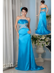Custom Made Teal Column / Sheath Strapless Prom Dress Satin Beading Brush Train