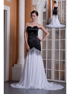 Custom Made White and Black Evening Dress Column Sweetheart Chiffon Sequins Brush Train