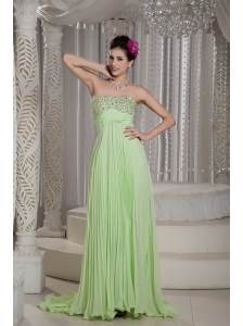 Custom  Made Yellow Green Prom Dress Empire Strapless Beading Brush Train Chiffon