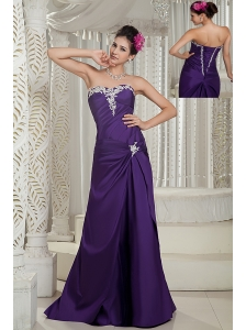 Customize Purple Prom Dress Column Strapless Satin Appliques Brush Train