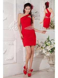 Customize Red Column One Shoulder Cocktail Dress Chiffon Beading Mini-length