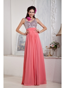 Customize Watermelon Empire Evening Dress Spaghetti Straps Chiffon and Sequin Beading Floor-length
