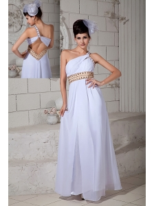 Cute White Empire Prom Dress One Shoulder Ruch Brush Train Chiffon