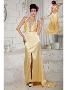 Discount Gold Empire Prom Dress Straps Beading Brush Train Taffeta