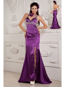Elegant Eggplant Purple Evening Dress Mermaid Halter Satin Beading Brush Train