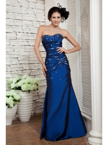 Elegant Navy Blue Prom / Evening Dress Column Sweetheart Beading Floor-length Taffeta