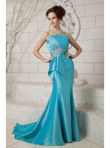Exclusive Aqua Mermaid Prom Dress Strapless Ruch and Beading Brush Train Satin