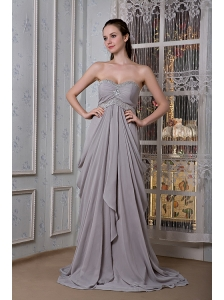 Exclusive Grey Empire Prom Dress Sweetheart  Beading Brush Train Chiffon