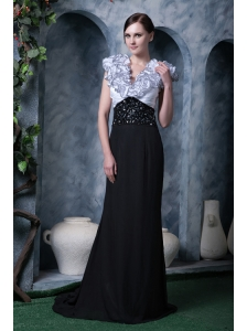 Exquisite White and Black Column Evening Dress V-neck Chiffon Beading Brush Train