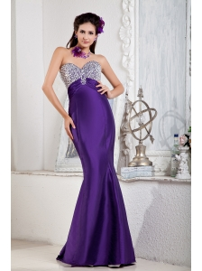 Floor-length Purple Mermaid Sweetheart Evening Dress Satin Beading Floor-length