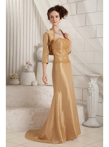 Gold Customize Mother Of The Bride Dress Column One Shoulder Satin Beading Brush Train