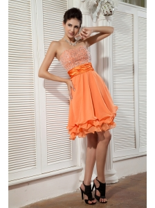 Lovely Orange Empire Sweetheart Prom / Homecoming Dress Chiffon Beading Mini-length