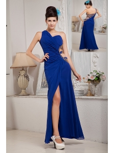 Lovely Royal Blue Empire Evening Dress One Shoulder Chiffon Ruch Ankle-length