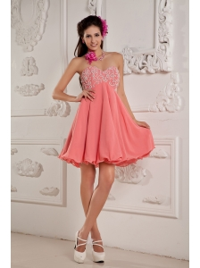 Lovely Watermelon Red A-line / Princess Prom / Homecoming Dress Sweetheart Mini-length Chiffon Beading