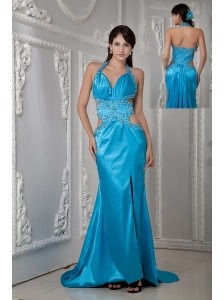 Low PriceTeal Empire Halter Evening Dress Satin Beading Brush Train