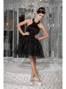 Modest Black A-line / Princess Prom / Homecoming Dress Halter Organza Beading and Ruch Mini-length