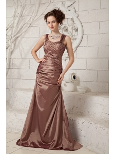 Modest Brown Mother Of The Bride Dress Column Straps Taffeta Ruch Brush Train