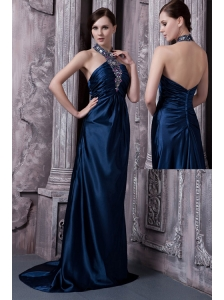 Navy Blue Prom Dress For Custom Made Column Halter Brush Train Elastic Woven Satin Beading
