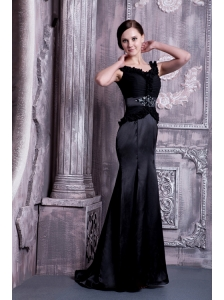 Perfect Black Column Straps Evening Dress Elastic Woven Satin Beading Brush Train