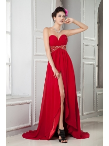 Perfect Red Empire Sweetheart Evening Dress Chiffon Beading Brush Train