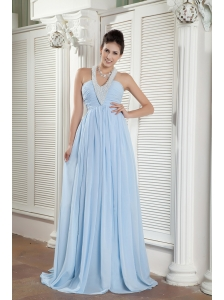 Popular Baby Blue Empire Halter Prom Dress Chiffon Beading Brush Train
