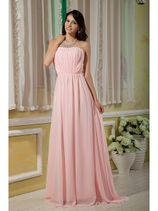 Pretty Baby Pink Bridesmaid Dress Empire Strapless Chiffon Ruch Brush Train