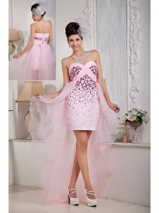 Pretty Baby Pink Column Sweetheart Prom / Homecoming Dress High-low Organza Beading