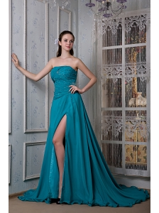 Remarkable Teal A-line Strapless Evening Dress Chiffon and Elastic Woven Satin Beading Court Train