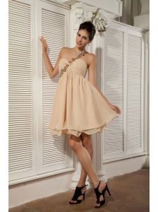 Simple Champagne Prom / Homecoming Dress Empire Sweetheart  Chiffon Appliques Mini-length